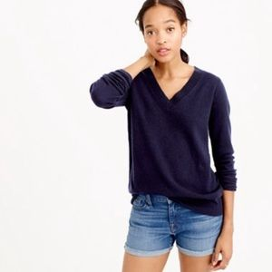 J Crew 100% cashmere 3/4 sleeve v neck sweater